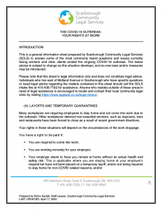 COVID-19 SCLS FAQ Sheet Employment Law